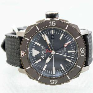 Alpina Seastrong Diver GMT Date Black Men's Quartz Watch Ref. AL-247LGG4TV6